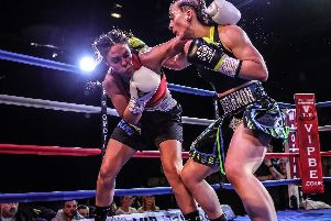 Rhiannon Dixon fighting in her most recent bout. Picture: Karen Priestley