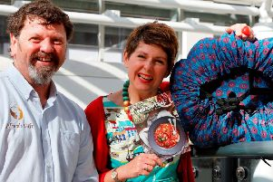 Ken Dunn and Faye Smith with the Wonderbag which they hope will help save lives in Africa