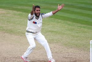 Yorkshire's Adil Rashid successfully appeals the wicket of Sussex's Ashar Zaidi. Picture: Alex Whitehead/SWpix.com