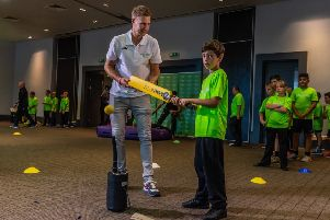 England cricket captain Joe Root helped to launch a nationwide community volunteering project at the Village Hotel Club, in Morley. Around 30 pupils from Morley Newlands Academy took part in the event. Picture: James Hardisty.