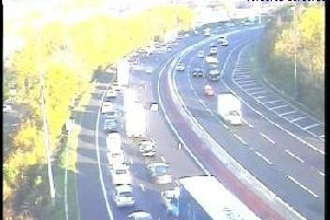 Traffic queuing on the M621 anticlockwise in Leeds. Picture: Crown 2018