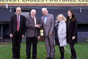 Peter Kneale, director Prescot Cables FC, Doug Lace Chairman of Prescot Cables, Coun Graham Morgan, Leader of Knowsley Council, Coun Denise Allen and Coun Steff OKeeffe, Prescot South Ward members.