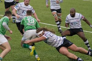 Match action from Preston Grasshoppers clash with Wharfedale'Photo: Mike Craig