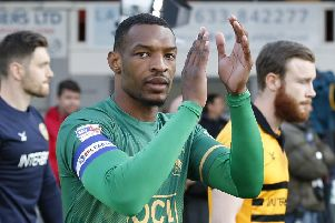 Picture by Gareth Williams/AHPIX.com; Football; Sky Bet League Two Play-Off Semi-Final; Newport County v Mansfield Town; 9/5/2019; KO 19.45; Rodney Parade; copyright picture; Howard Roe/AHPIX.com; Mansfield skipper Krystian Pearce applauds the travelling fans
