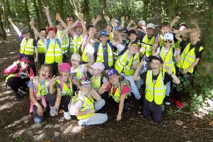Gomersal St Mary's CE School Year 4 pupils during the WE Walk for Water event at Oakwell Hall.