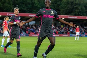 Eddie Nketiah celebrates scoring Leeds United opening goal at Salford City. Picture: Bruce Rollinson