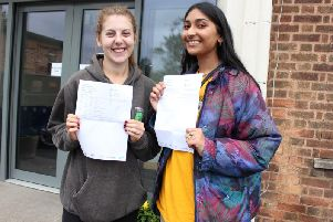 Bryony Toon, the first ever Quarrydale student to get into Oxford and Anoosha Khan who is going to the University of Manchester.