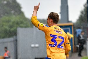 Mansfield Town's Danny Rose celebrates scoring his sides second in a 2-2 draw: Picture Steve Flynn/AHPIX LTD, Football, Sky Bet League Two, Mansfield Town v Morecambe, One Call Stadium, Mansfield, UK, 10/08/19, K.O 3pm''Howard Roe - 07973739229