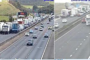 The crash happened at 10.40 am yesterday  on the East-bound carriageway prior to Junction 23. (Pictures Highways England)