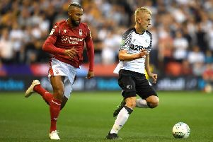 Louie Sibley (right) in action against Nottingham Forest.
