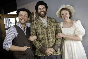 The Great Joe Wilson cast (left to right) Jamie Brown, Micky Cochrane and Sarah Boulter. Picture by Scott Akoz.