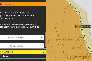 The Met Office warning for freezing rain and ice.