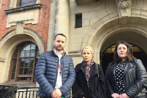 Save the PRS campaign group's Alex Boyce, parent of a Grove Academy student Natalie Astwood and National Education Union's Karen Carberry after the meeting. Picture: Lachlan Leeming
