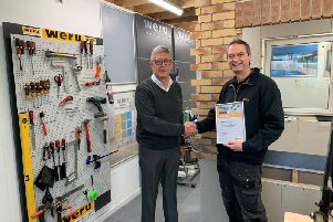 Martyn Strangwick, right,  Technical and Training Manager who has 31 Years service with the family run Weru UK business in Blackpool, received the accreditation from Weru UK founder Graham Lindsay