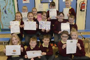 Pupils at Grange View Church of England First School in Widdrington Station who have been working on projects linked with internet safety. Picture by Jane Coltman.