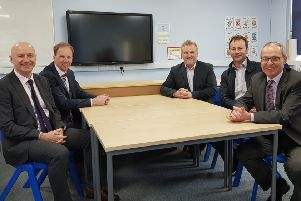 Representatives of Northumberland County Council and The Three Rivers Learning Trust are pictured in one of the new classrooms.