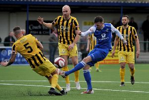 Buxton FC v Scarborough Athletic, pictured is Liam Hardy