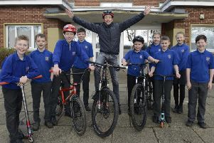 Mark Tweedie and a group of Chantry Middle School pupils pictured by Jane Coltman at The Big Pedal launch.