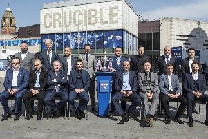 The world's top 16 snooker players gather outside the Crucible Theatre in Sheffield ahead of the World Championship. Picture: Dean Atkins