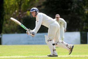 Collingham & Linton CC opener Sam Anderson in action during Saturdays Airedale & Wharfedale League Division clash with North Leeds CC. Picture: Steve Riding
