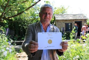 Welcome to Yorkshire Chelsea canal garden cruises to gold. Pictured is Mark Gregory with his gold medal.