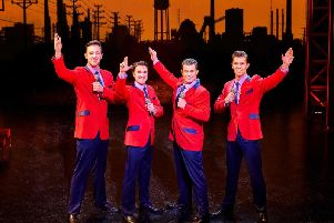 The cast of Jersey Boys musical.