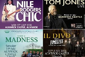 Poster for the Alnwick Castle concerts in July.