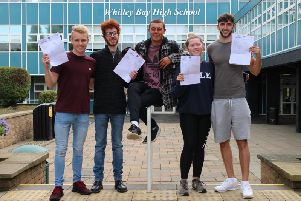 Whitley Bay High School students with their results.