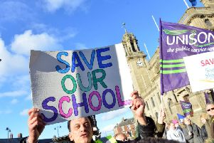 An earlier protest against the closure of South Shields School.