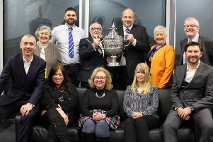Members of the Whitley Bay Sporting Club accept the Whitley Bay Town Cup alongside Whitley Bay ward councillors and Chair of the Council, Tommy Mulvenna.