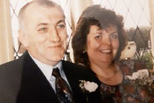 Ken and Trish Alcock pictured on their wedding day in 1995 ' three years before Ken had a stroke.