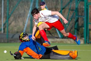 Elliott Bullock, in action for Halifax Men's Hockey v Bradford, at Park Lane Academy