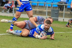 Steve Tyrer scored his 100th try for Halifax against Batley Bulldogs. PIC: Simon Hall.