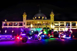 The Goldwing light parade at Whitley Bay's Spanish City and Dome in 2018.