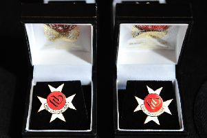 The award memento featuring the heart logo backed by the Maltese Cross given out to families of organ donors. Picture by Theodore Wood.