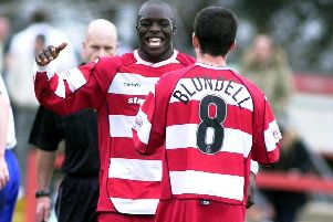 Adebayo Akinfenwa during his days at Doncaster Rovers.