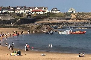 Cullercoats lifeboat launches this afternoon. Picture from RNLI/Alan Gould