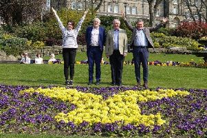 Welcome To Harrogate! Pictured (l to r): Welcome to Yorkshire marketing campaigns manager Danielle Ramsey, Harrogate BID vice-chairman Simon Kent, Harrogate BID chairman John Fox, and Welcome to Yorkshire area director for North Yorkshire David Shields.