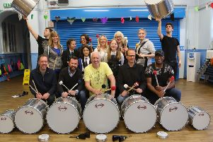 Whitley Bay Carnival samba band Big Noise rehearsing for the 2019 parade at Rockcliffe First School. Picture By Carol Alevroyianni.