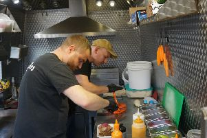 Rob Harrison (left) and Danny Kowalczyk of Goodtimes Tacos hard at work at the North Shields Proper Food and Drink Festival.