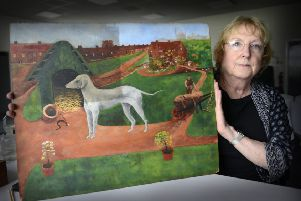 Anne Bacon, conservator and Ashington Group Trustee, working on  The Bedlington Terrier which will be featuring in Pitmen Painters Unseen at Woodhorn. Picture by Jane Coltman.