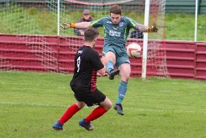 Action from Armthorpe Welfare's defeat at Shirebrook Town