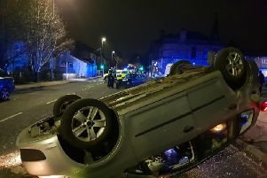 This was the scene awaiting officers called out to Halifax Road in Dewsbury. Picture: @WYP_TrafficDave