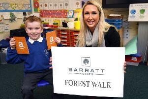 Brandon Carr, aged 5, with Becky Mortimer, Sales Manager at Barratt Homes North East.