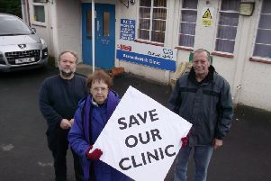 Coun. Ken Hartley with colleagues Marjorie Adams and David Whipp campaigning to keep Butts Clinic open