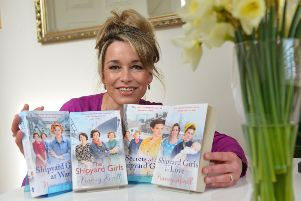Amanda Revell Walton who writes as Nancy Revell with some of her Shipyard Girls series