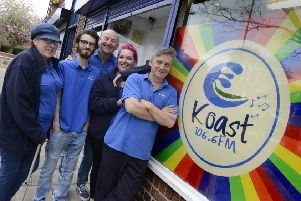 Some of the Koast Radio team outside their base in Ashington, including Jeff Pattison, right. Picture by Jane Coltman.