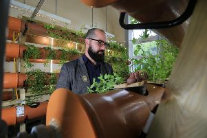 Jacob Nickles at the urban farm in Tinsley where scientists are using pioneering hydroponics techniques to grow food without soil. Picture by Chris Etchells.