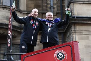 Dynamic duo: Assistant Alan Knill and manager Chris Wilder during the open-top bus parade. Picture: Simon Bellis/Sportimage