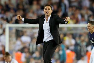 LEEDS, ENGLAND - MAY 15: Frank Lampard, Manager of Derby County celebrates victory following the Sky Bet Championship Play-off semi final second leg match between Leeds United and Derby County at Elland Road on May 15, 2019 in Leeds, England. (Photo by Alex Livesey/Getty Images)